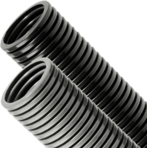 black and grey conduit leaning to left