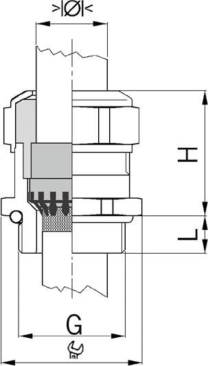 Progress MS EMC Rapid ex cable gland diagram