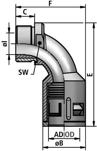 FLEXAquick Fitting RQBK90-N Diagram