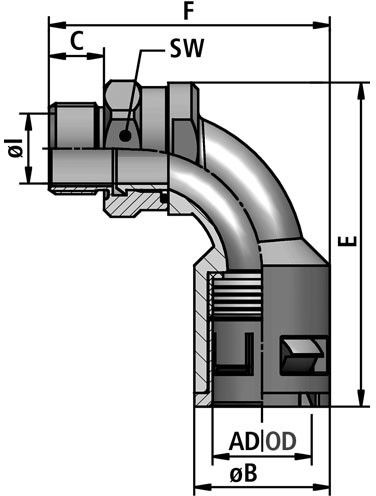 FLEXAquick Fitting RQBK90DR-P Diagram