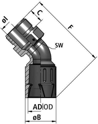 FLEXAquick Fitting RQLB1 45-M Diagram