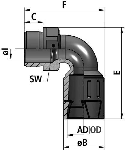 FLEXAquick Fitting RQLB1 90-P Diagram