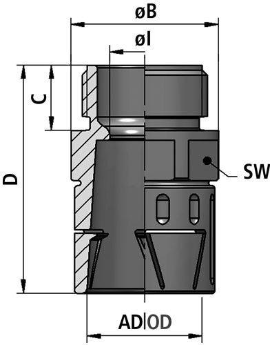 FLEXAquick Fitting RQLG1-P Diagram