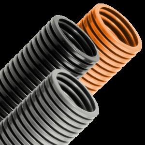 PA-12 black, grey, and orange conduit
