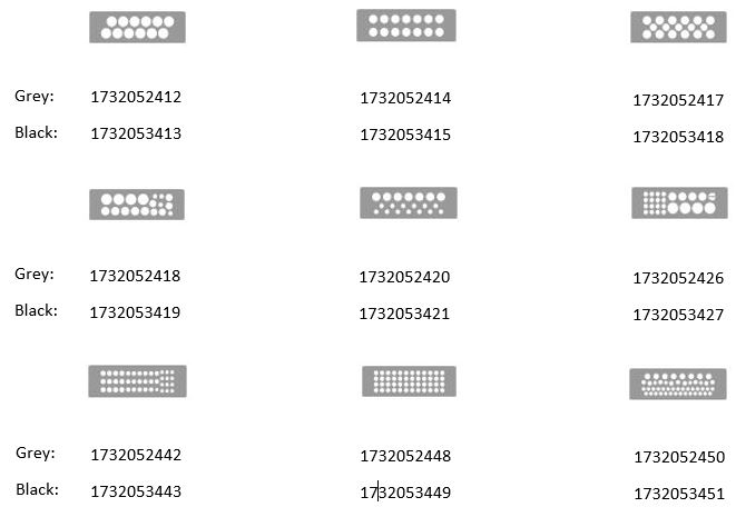 Displays 9 product key sizes and color code for DES PM 24