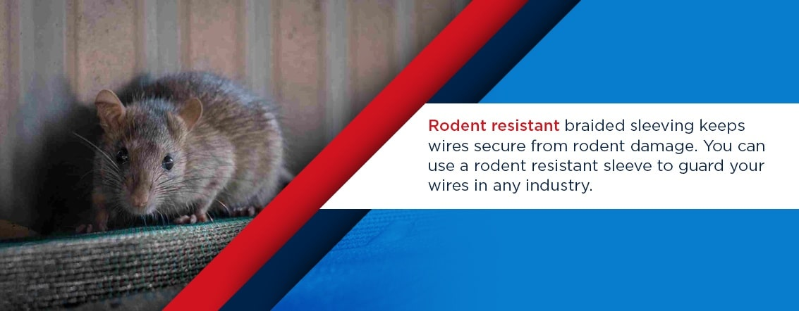 rodent resistant braided sleeving keeps wires secure from rodent damage