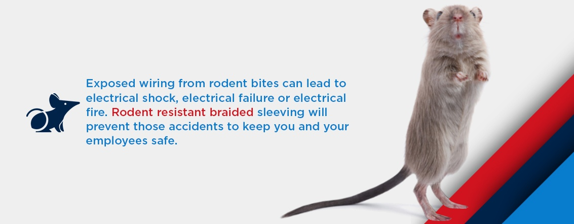 exposed wiring from rodent bites can lead to electrical shock, electrical failure, or electrical fire. rodent resistant braided sleeving will prevent those accidents to keep you and your employees safe