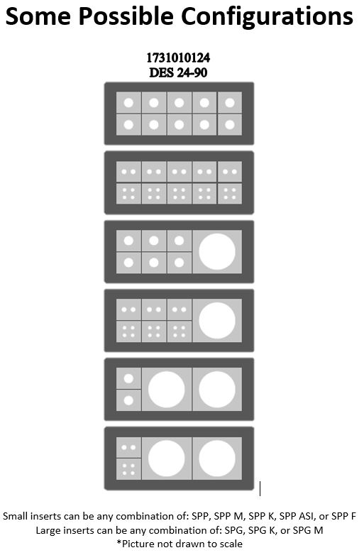 Diagram of six possible configurations for DES 24-90
