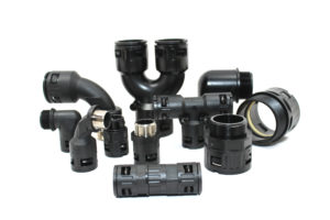 Variety of black cable connectors
