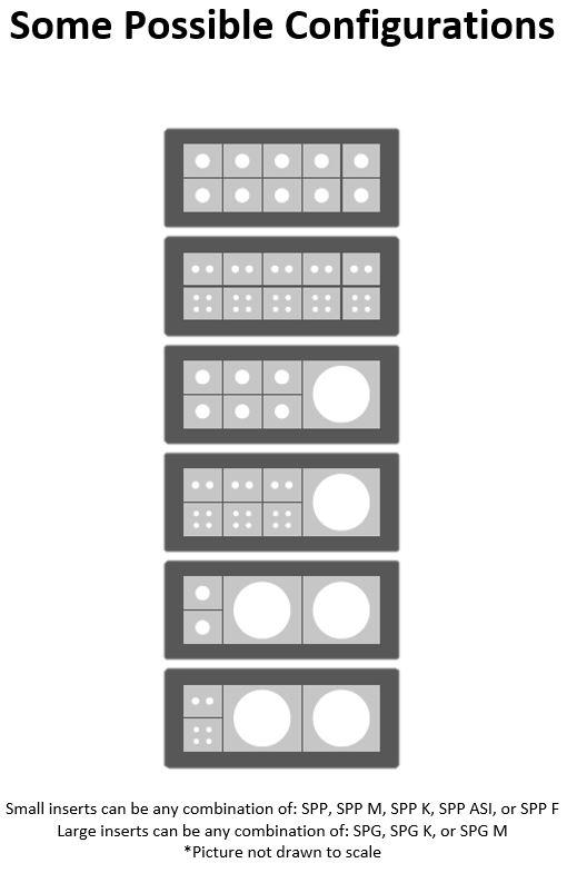 Diagram of six possible configurations for DES 24MX
