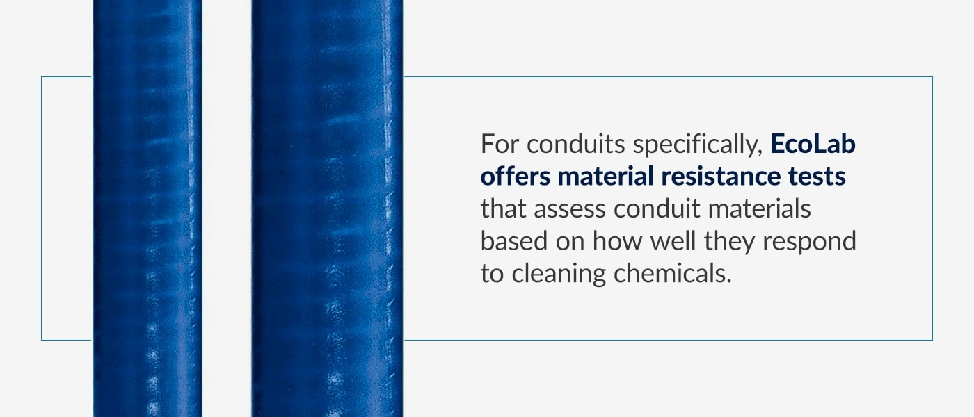 EcoLab requirements for conduits