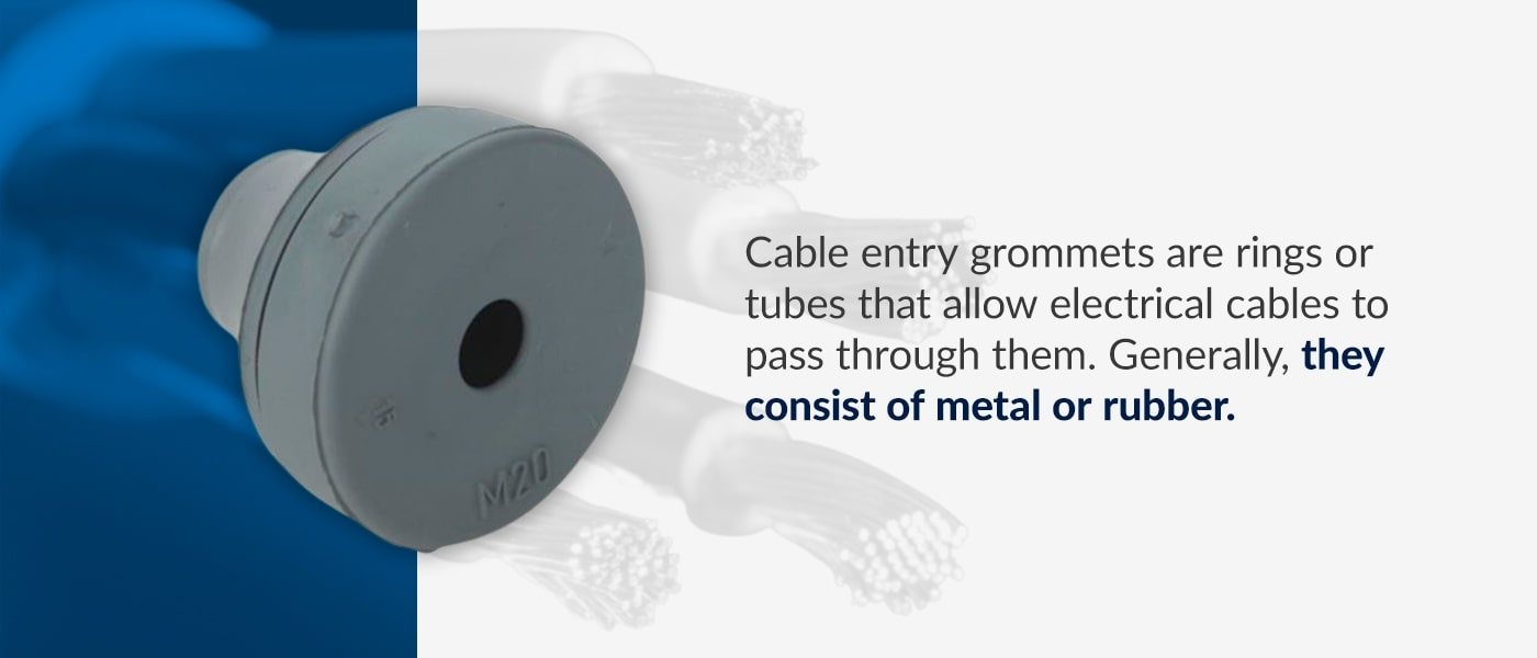 cable entry groomets are rings or tubes that allow electrical cables to pass through them