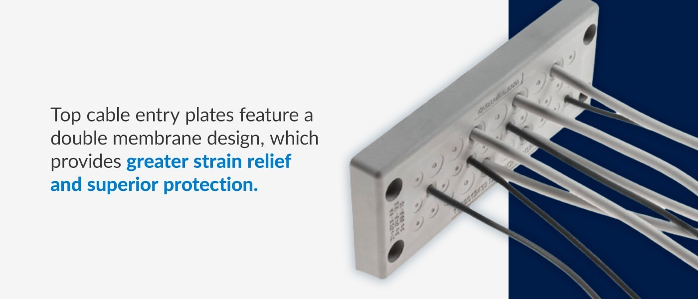 top cable entry plates provide greater strain relief and superior protection