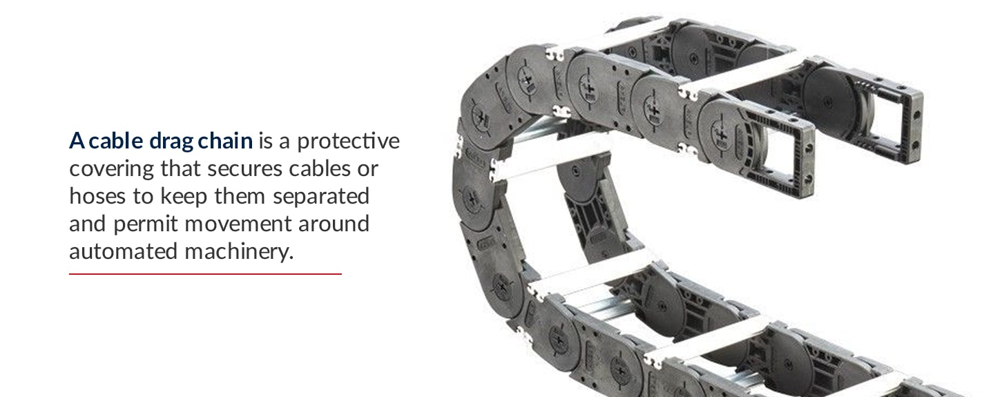 a cable drag chain is a protective covering that secures cables or hoses to keep them separated and permit movement around automated machinery